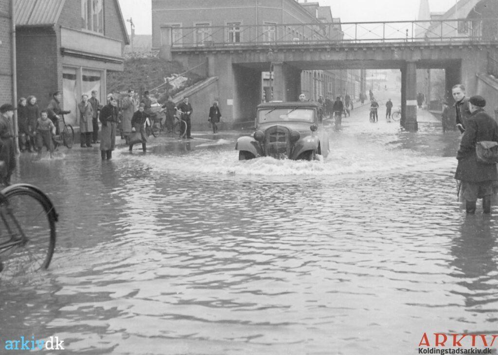 Oversvømmelse i Vesterbrogade 1941. Billede: Kolding Stadsarkiv